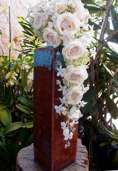"""Cheap and the right colors - Tall Vases 21-1/2"""" Turquoise & Sienna Ceramic Vase $18"""