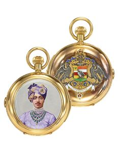 A rare & fine 18K yellow gold & enamel hunting cased minute repeater chronograph watch made for the indian market in the manner of J Graff, circa 1890, the gold cuvette engraved specially made for H.H. The Maharaja Sirdar Singhyi Saheb Bahadur of Jodhpur, the front cover finely painted with a portrait of the Maharajah resplendent in lilac dress completed by a multi strand emerald, ruby & pearl necklace, his matching turban pinned with a miniature portrait of an image of another Maharajah...