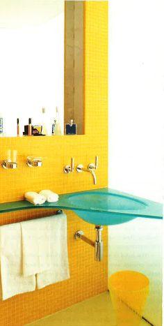 Aqua Glass Sink & Yellow Tile.