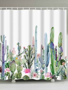 Green Plants Cactus Flowers Print Shower Curtain - multicolor W71 INCH * L79 INCH