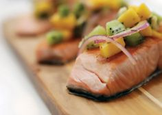 Grilled Salmon with Mango Salsa. The perfect summer meal, leaves your skin glowing and your tummy full.