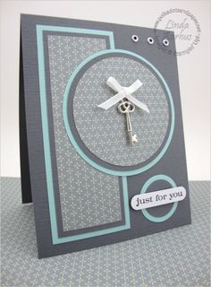 gray,blue and white . like this as a basic layout design . would be great for many other themes . like the double mats for the patterned papers Card Making Inspiration, Making Ideas, Chrismas Cards, Best Wishes Card, Beautiful Handmade Cards, Birthday Cards For Men, Some Cards, Card Sketches, Paper Cards