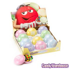 Pastel M&Ms in a decorative tin, in stock just in time for the Easter Candy shopper! http://www.candywarehouse.com/products/mandms-filled-pastel-candy-tins-12-piece-box/