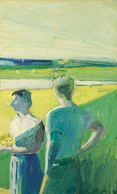 Paul Wonner - Boy and Girl in Garden, 1959