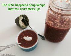 My friend Sonia brought this over the other day for us to try, it's the BEST gazpacho soup recipe that you can't mess up!