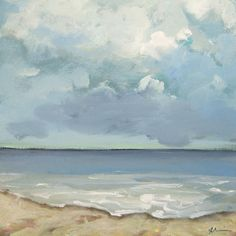 "Incoming Tide, 12 x 12"" Archival Print on Canvas, Coastal Art, Impressionistic Ocean Art"