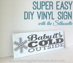 Great tutorial for how to use transfer paper with vinyl DIY Vinyl Winter Sign and Silhouette Sale!