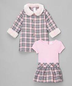 Loving this Pink & Gray Plaid Dress & Coat - Infant, Toddler & Girls on #zulily! #zulilyfinds