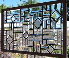 Beveled Stained Glass Window perfect for basement window by DebsGlassArt on Etsy Stained Glass Designs, Stained Glass Panels, Stained Glass Projects, Stained Glass Patterns, Leaded Glass, Beveled Glass, Stained Glass Art, Broken Glass Art, Sea Glass Art