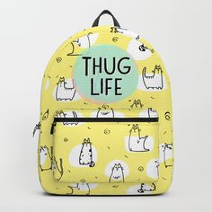"Typography handwritten text ""THUG LIFE"" on  yellow background with a cat pattern illustration."