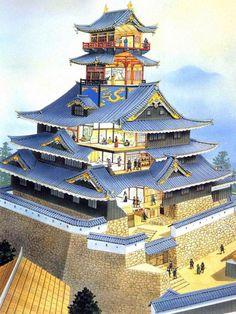 Azuchi castle, 1576 Japanese Castle, Japanese Temple, Japanese Warrior, Japanese House, Japanese Art, Asian Architecture, Ancient Architecture, Samurai, Wooden Castle