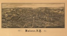 Vintage Map of Malone New York 1886 Franklin County Poster