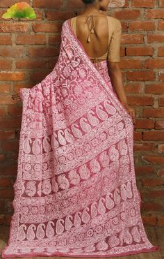 Pink chiffon saree with chikankari work India Roots Latest Indian Saree, Indian Sarees, Indian Attire, Indian Ethnic Wear, Indian Style, Indian Dresses, Indian Outfits, Emo Outfits, Jute