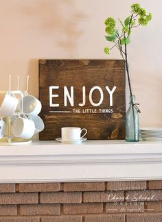 Inspirational Art for your home or office - Enjoy The Little Things Sign - Hand Painted Wooden Sign by Church Street Designs