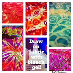 Diary of a Crafty Chica: Bleach Gel Doodles on Fabric! How To Tie Dye, How To Dye Fabric, Fun Crafts, Diy And Crafts, Arts And Crafts, Beach Crafts, Holiday Crafts, Bleach Art, Bleach Drawing