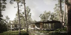 """We isolated the recreation area from the daytime area by dividing them with a glass gallery. When you walk in the glass corridor in the pine trees to the bedroom, it becomes a certain """"anchor"""" in the mind and sets you up for relaxation.  The volume in which the living area is located is as open as possible to the forest, and also has a high height in order to maintain proportions and let in more natural light."""