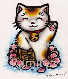 Pin Maneki Neko Luck Cat Tattoo Picture To Pinterest
