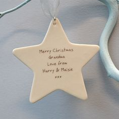Personalised Christmas Star Decoration by CARYS BOYLE CERAMICS, the perfect gift for Explore more unique gifts in our curated marketplace. Personalised Christmas Decorations, Christmas Star Decorations, Christmas Crafts To Make, Christmas 2015, Christmas Ornaments, Wooden Stars, Star Gift, Babies First Christmas, Craft Gifts