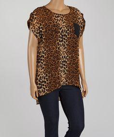 ec0423541d5875 Zenobia Brown Leopard Cap-Sleeve Hi-Low Top - Plus