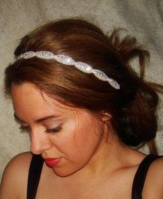 Rhinestone Headband, Wedding Headband, Crystal Headband- Athena, Wedding Headpiece, Bridal Headpiece, Hair Accessory,  Halo, Tie on