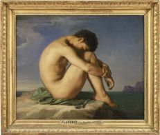 Young Man Sitting by the Sea. Figure Study   Louvre Museum   Paris Naked Young Man Sitting By The Sea, 1836 Oil On Canvas, Hippolyte Flandrin.  The painting was sent from Rome to Paris in 1836 as an example of the students' work. It was shown at the 1855 Universal Exhibition in Paris and was purchased in 1857 by Napoleon III's civil list. The emperor then donated the work to the Musée du Luxembourg in Paris.