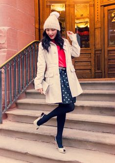 J.Crew and Kate Spade winter holiday outfit