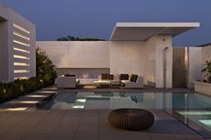 Terrace of CORMAC Residence In California at night