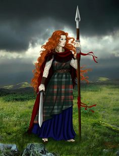 BOUDICCA - The tartan suggests she's Scottish but in fact was Queen of the people of Norfolk, (as it's now known), around AD60. A ferocious woman who avenged her daughters violators before killing herself so they couldn't kill her too. Ferocious! (Google Image Result for http://fc00.deviantart.net/fs51/i/2009/338/e/a/Boudicca_by_cynchick.jpg)