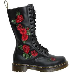 Dr.martens Women 30mm 1914 Vonda Roses Leather Boots (440 CAD) ❤ liked on Polyvore featuring shoes, boots, black, dr martens boots, black low heel boots, real leather boots, low heel boots and leather shoes