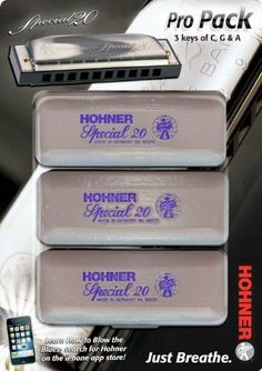 Hohner Special 20 Harmonica 3 piece Pro Pack keys of G,C,A by Hohner. $85.50. Includes 3 harmonicas in the keys of C, G, & A / Includes a booklet of historical facts, notable figures, & stories about the harmonicaHohner Harmonica's Special 20 Pro Pack features 3 harmonicas. Three harps in the keys of C, G, and A.. Save 41% Off!