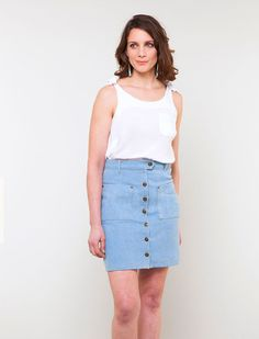 Leonora is a chic skirt with all of the traditional features of denim garment construction, including flat felled seams, a classic back yoke, belt . Dress Making Patterns, Skirt Patterns Sewing, Sewing Patterns For Kids, Clothing Patterns, Skirt Sewing, Pdf Patterns, Women's Clothing, Plus Size Womens Clothing, Plus Size Outfits