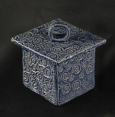 Spiral Design Ceramic Art - Blue Box With Circle On Lid by Martha Hamblin