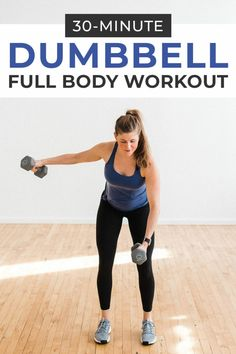 This dumbbell circuit workout consists of 16 strength training exercises - Sport interests Full Body Strength Workout, Full Body Dumbbell Workout, Strength Training Workouts, Training Exercises, Best Cardio Exercises, Dumbbell Exercises, Yoga Workouts, Home Workout Videos, Body Workout At Home