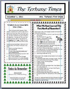 classroom newsletter ideas