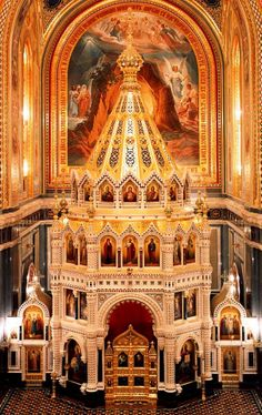 Interior of the Cathedral of Christ the Saviour in Moscow Rusia. Russian Architecture, Sacred Architecture, Church Architecture, Religious Architecture, Beautiful Architecture, Beautiful Buildings, Cathedral Church, Old Churches, Christian Church