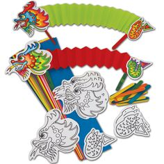 Concertina Dragon Puppets  Wonderful stick puppets to colour, decorate and fold. Pack includes pre-printed dragon's heads & tails, coloured body strips, jumbo craft sticks & instructions.  Pack of 30.