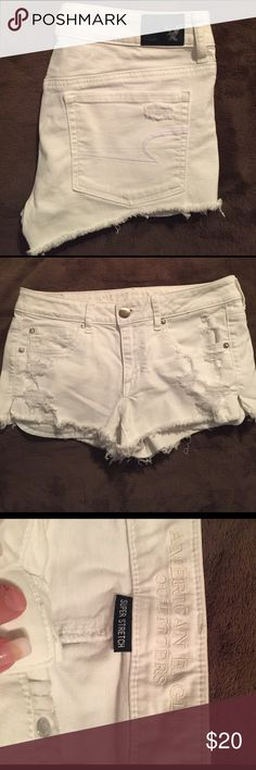 American Eagle jean shorts These are awesome pair of white American Eagle shorts with a little bit of stretch to them. They also are distressed in the front which looks great with boots and a cute top! American Eagle Outfitters Shorts Jean Shorts