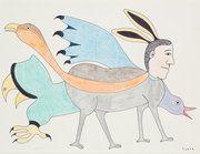 Rabbit Shaman with Bird Spirits (1988/89) by Kenojuak Ashevak