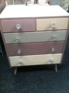 Retro Chest of drawers Multi coloured Autentico Vintage paint with flower handles