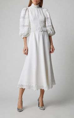 Belted Lace-Paneled Crepe De Chine Dress by Andrew Gn Modest Dresses, Elegant Dresses, Look Fashion, Womens Fashion, Fashion Design, Modest Fashion, Fashion Dresses, Classy Dress, Haute Couture Fashion