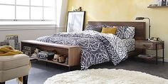 perfect headboard & footboard/storage; great side table, too; and I love the lamp