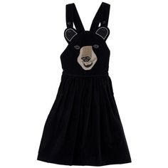 Brown Boo Boo Bear Dress ❤ liked on Polyvore featuring dresses, onepiece, apron dress, applique dress and brown dress