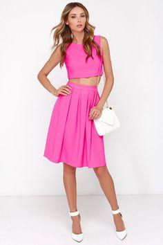 Love Splendidly Spry Hot Pink Two-Piece Midi Dress