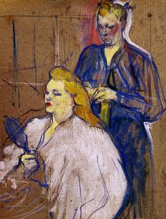 The Haido - Henri de Toulouse-Lautrec, 1893. Artist often mixed oils with good amount of turpentine, that gave an effect of pastels when the painting dried. This work has an unfinished, sketchy look with canvas showing through.