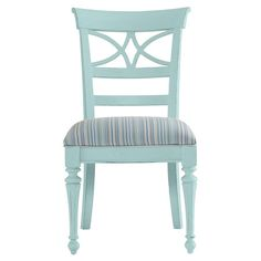 Equally at home in cottage-chic spaces or as part of a coastal-inspired seating group, this wood side chair showcases an openwork back and striped cushion fo...