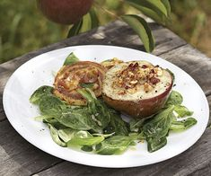 ... and Hazelnut Stuffed Pears with Pancetta Crisps and Mâche recipe