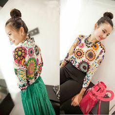 New Womens sexy long Sleeve Print Casual Chiffon Loose Shirt Blouse Tops