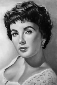 Elizabeth Taylor; Graphite Drawing by John Harding