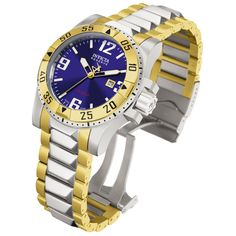 Invicta 6251 Men's Two Tone Gold Plated SS Blue Dial Watch,