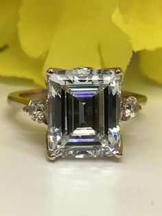 Emerald Cut Solitaire With Side Stones Engagement Wedding Anniversary Promise Rose Gold With Tulip Designer Head Item Engagement Ring Cuts, Solitaire Engagement, Anniversary Rings, Wedding Anniversary, Jewelry Box, Unique Jewelry, Square Rings, Citrine Ring, Diamond Stone